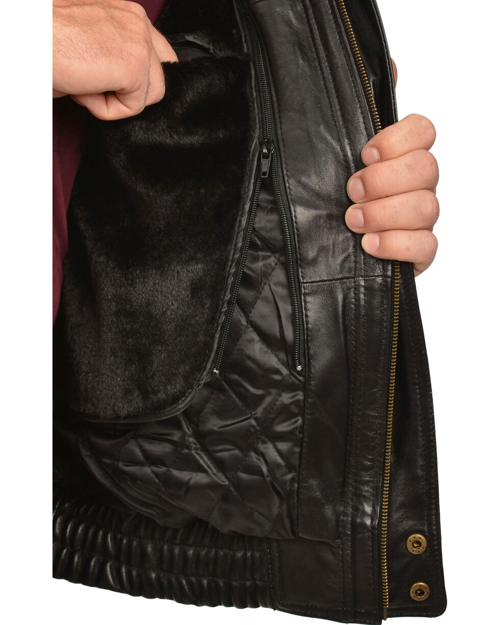Vintage Leather Zip Out Lining Black Lambskin Bomber Jacket, , hi-res