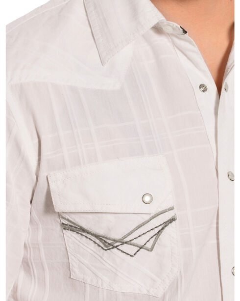 Ely 1878 Men's White Windowpane Dobby Western Shirt , White, hi-res