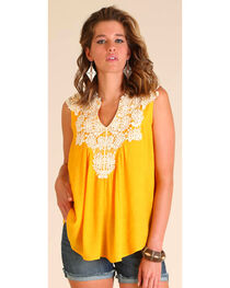 Wrangler Women's Sleeveless Swing Top with Crochet Front, Gold, hi-res