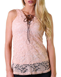 Jody of California Women's Lace-Up Tank, , hi-res