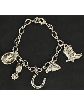 Blazin Roxx Silver-tone Western Charm Bracelet, Silver, hi-res