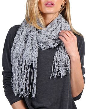 Shyanne® Women's Open Weave Fringe Scarf, Grey, hi-res