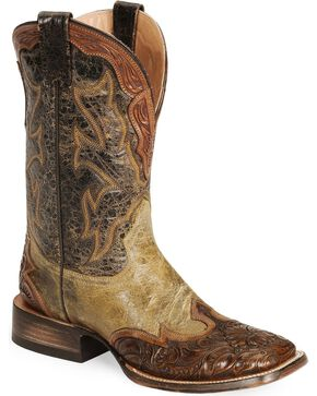 Stetson Men's Handtooled Western Boots, Brown, hi-res