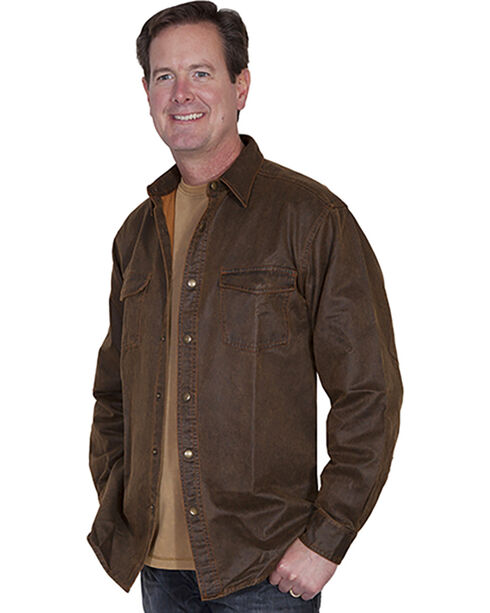 Scully Men's Moleskin Overshirt, Brown, hi-res