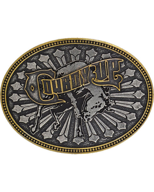Montana Silversmiths Cowboy Up Belt Buckle, Silver, hi-res