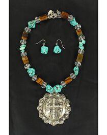 Blazin Roxx Fancy Concho & Faux Turquoise Beaded Necklace & Earrings Set, , hi-res