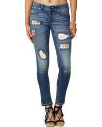 Miss Me Women's Indigo Distressed Jeans - Skinny, , hi-res