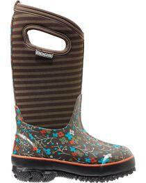 Bogs Kids' Classic High Brown Flower Stripe Waterproof Boots, , hi-res