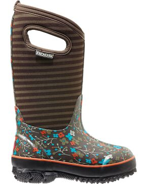 Bogs Kids' Classic High Brown Flower Stripe Waterproof Boots, Fuchsia, hi-res