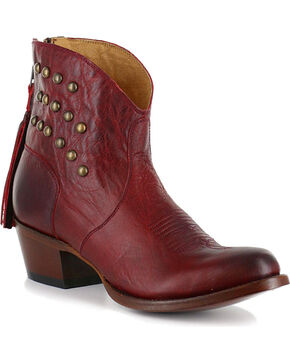 Shyanne® Women's Dome Studded Booties, Red, hi-res