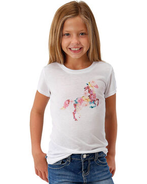 Roper Girls' White Horse Graphic Tee , White, hi-res