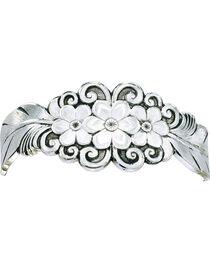 Montana Silversmiths Silver Flower & Feather Cuff Bracelet, Silver, hi-res