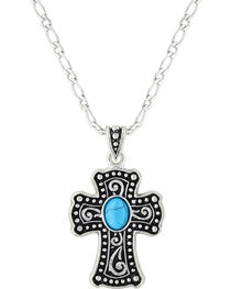 Montana Silversmiths Women's Silver Swirling Cross with Turquoise Necklace , , hi-res