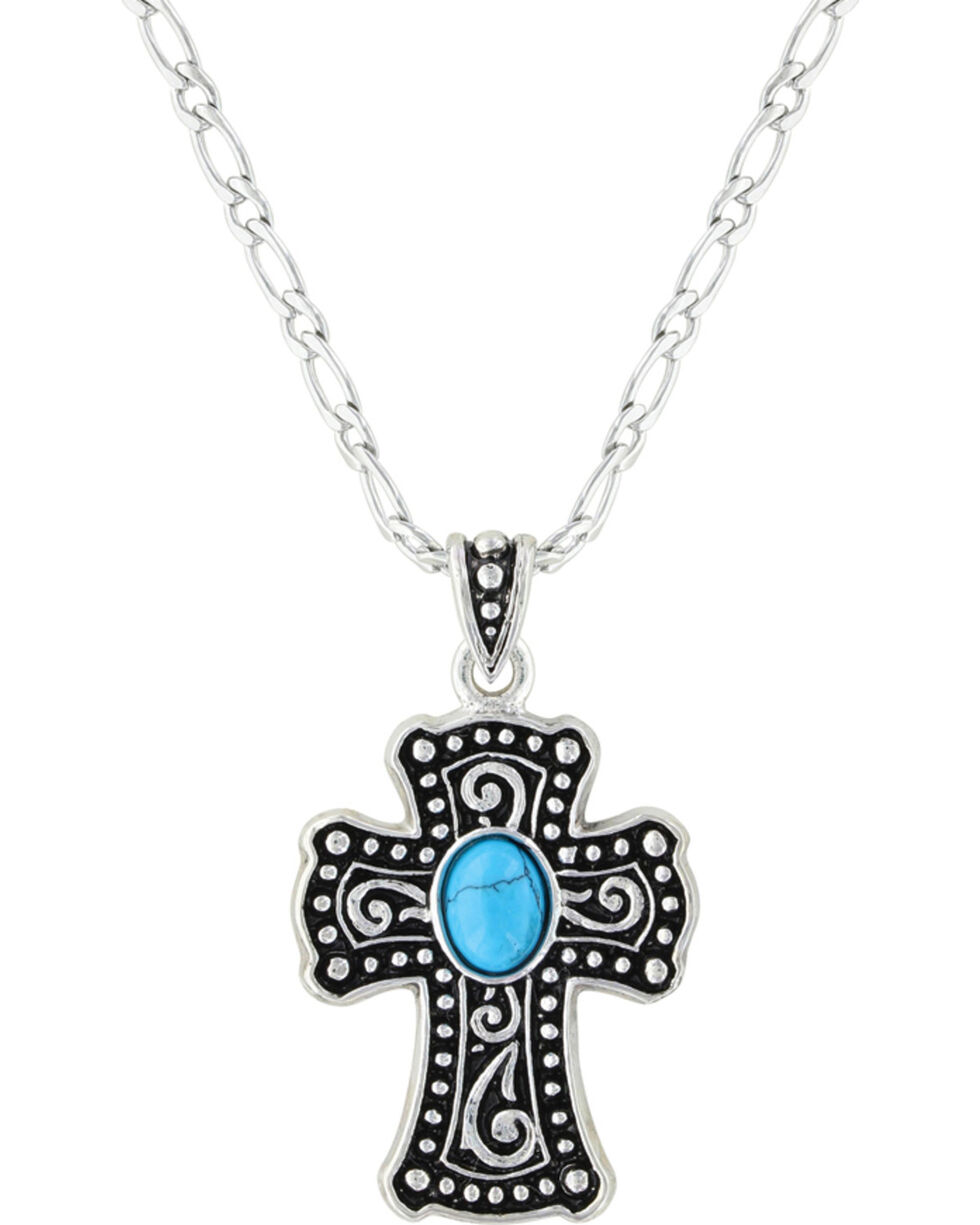 Montana Silversmiths Women's Silver Swirling Cross with Turquoise Necklace , Silver, hi-res