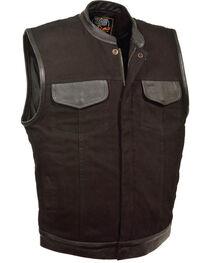 Milwaukee Leather Men's Black Denim Leather Trim Club Vest - Big 5X, Black, hi-res