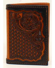 Ariat Floral & Basketweave Tri-Fold Wallet, , hi-res