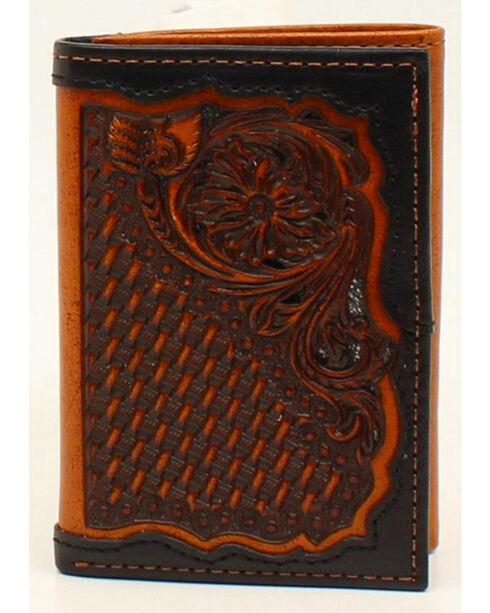 Ariat Floral & Basketweave Tri-Fold Wallet, Black, hi-res
