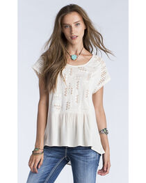 Miss Me Women's Taupe Embroidered Cross Back Short Sleeve Top , , hi-res