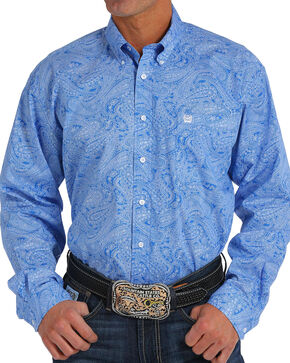 Cinch Men's Royal Blue Paisley Print Long Sleeve Button Down Shirt, Royal Blue, hi-res