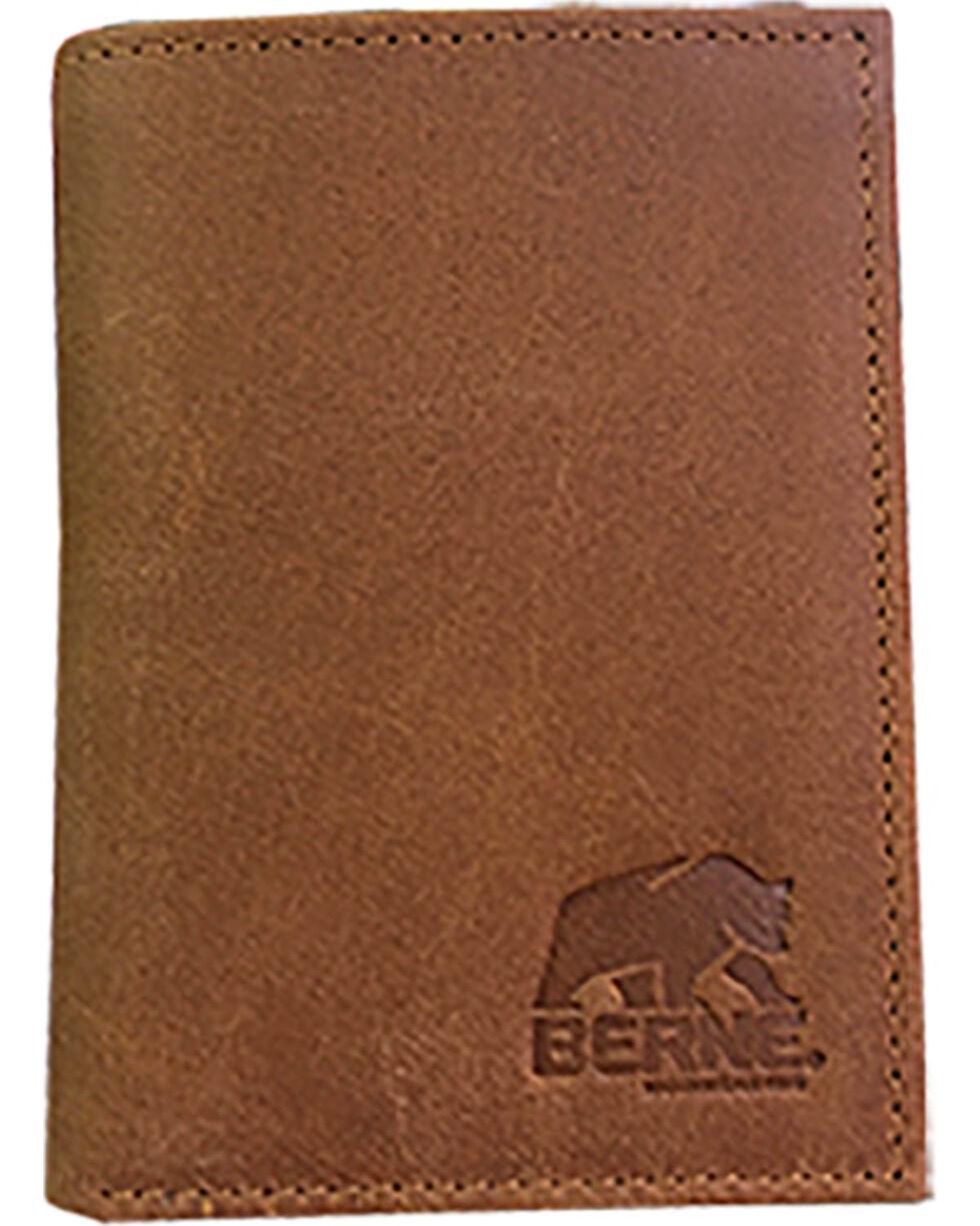 Berne Men's Tan Embossed Leather Tri-Fold Wallet , Tan, hi-res