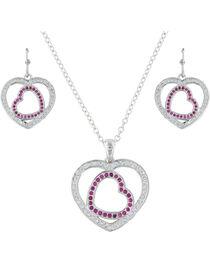 Montana Silversmiths Women's Silver Love's First Blush Heart Jewelry Set , , hi-res