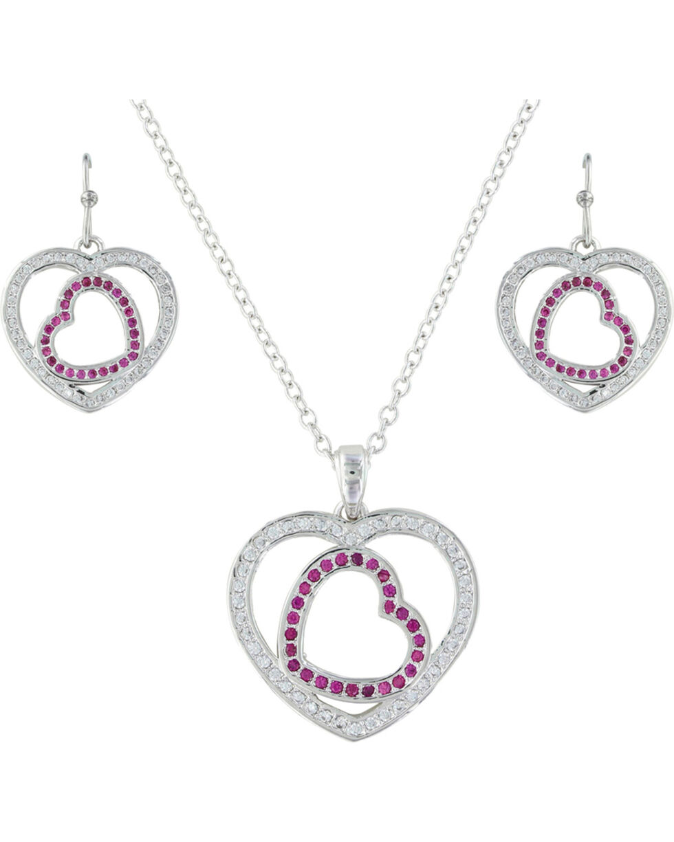 Montana Silversmiths Women's Silver Love's First Blush Heart Jewelry Set , Silver, hi-res