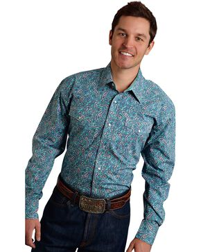 Roper Men's Amarillo Collection Green Paisley Snap Long Sleeve Shirt, Green, hi-res