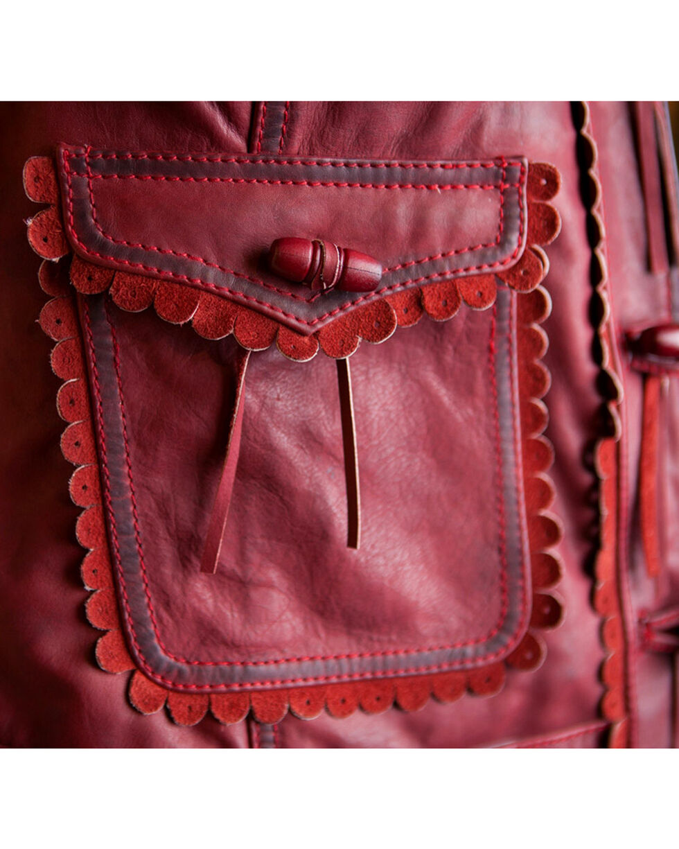 Ryan Michael Women's Red The Minnie Leather Vest , Red, hi-res