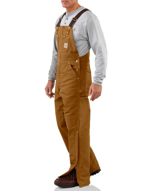 Carhartt Men's Duck Bib Quilt Lined Overall, Brown, hi-res