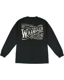Wrangler Men's Long Sleeve Wordmark Tee, , hi-res