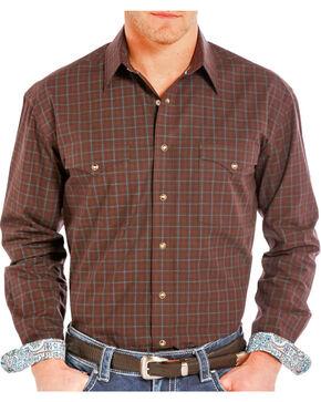Rough Stock Men's Check Patterned Long Sleeve Shirt, Burgundy, hi-res
