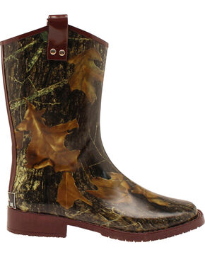 Double Barrel Boys' Trenton Rain Boots - Square Toe, Mossy Oak, hi-res