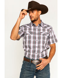 Cody James Men's Plaid Short Sleeve Snap Shirt, , hi-res