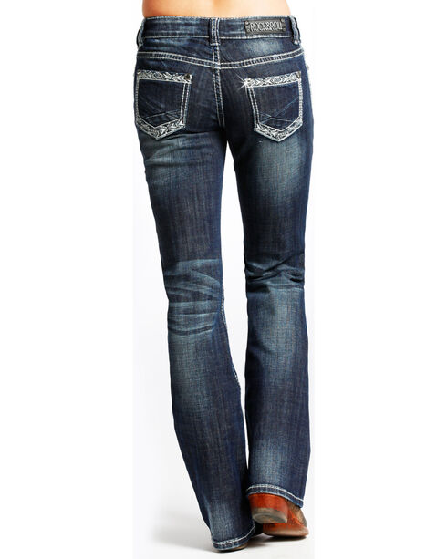 Rock & Roll Cowgirl Women's Riding Boot Cut Jeans, Dark Blue, hi-res