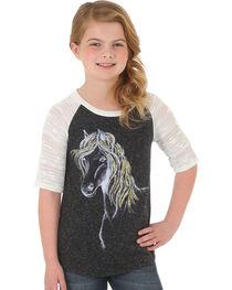 Wrangler Girls' Charcoal Glitter Mane Horse Raglan Tee , , hi-res