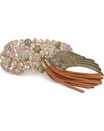 Shyanne® Women's Beaded Feather and Tassel Bracelet, , hi-res