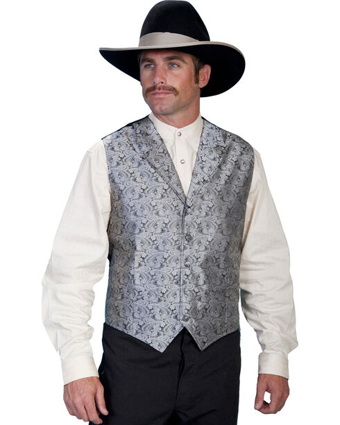 Rangewear by Scully Taupe Paisley Button Vest, Grey, hi-res