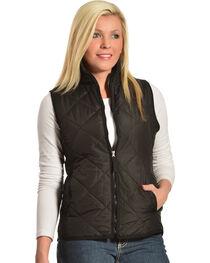 Jane Ashley Women's Diamond Quilted Vest, Black, hi-res