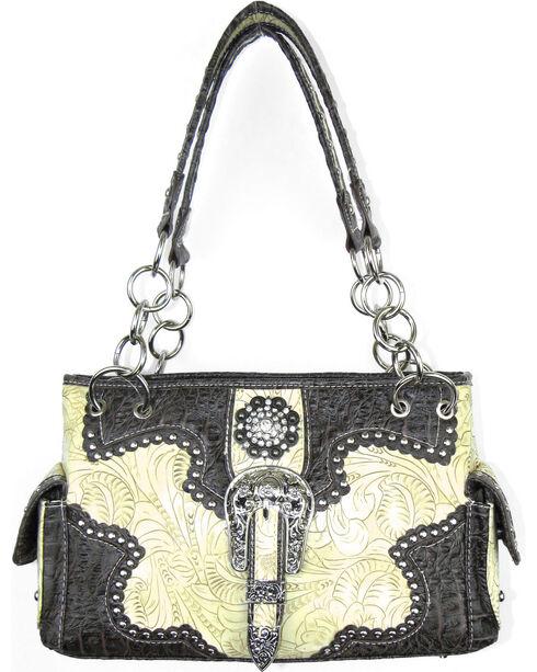 Savana Women's Ivory Concealed Carry with Tooled Design Handbag, Ivory, hi-res