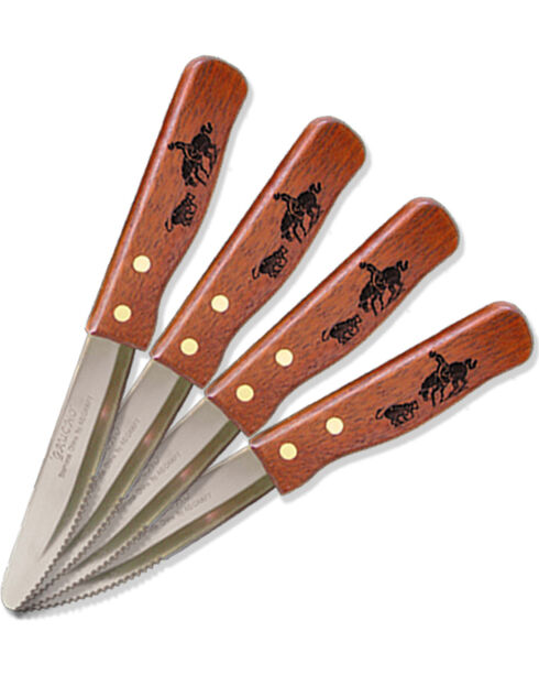 Moss Brothers Laser Engraved Cutting Horse Steak Knife 4-Piece Set  , Med Brown, hi-res