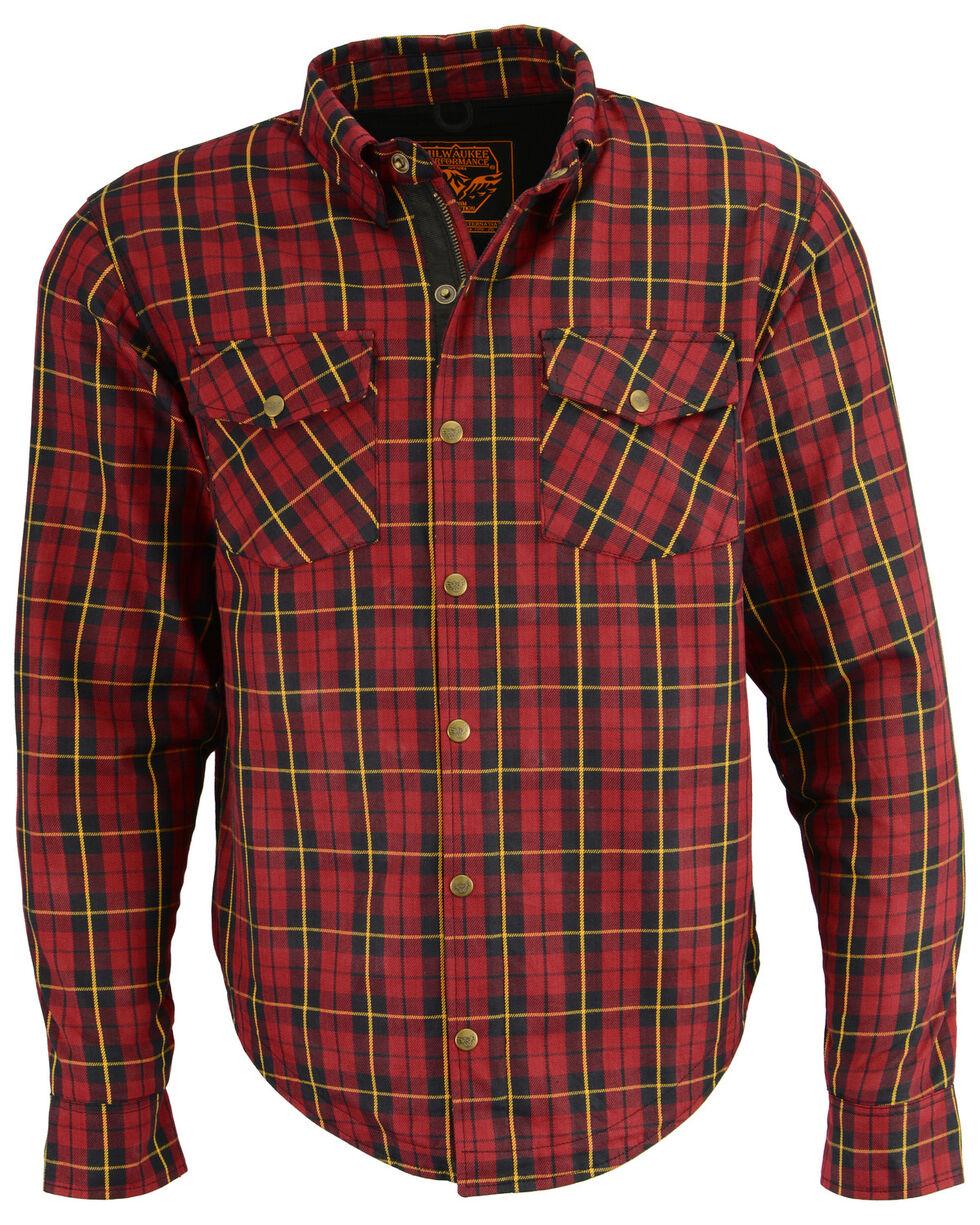 Milwaukee Performance Men's Aramid Reinforced Checkered Flannel Biker Shirt, Black/red, hi-res