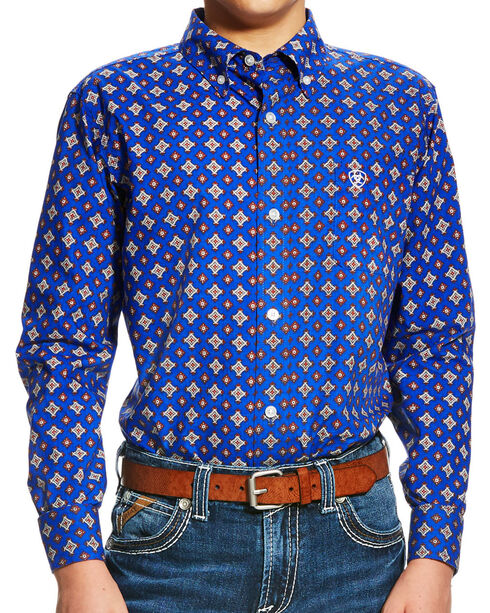 Ariat Boys' Blue Benchley Print Western Shirt , Multi, hi-res