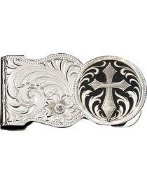 Montana Silversmiths Cross Engraved Scalloped Money Clip, , hi-res