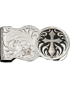 Montana Silversmiths Cross Engraved Scalloped Money Clip, Silver, hi-res