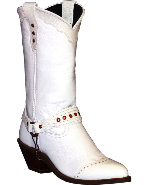 Abilene Sage White Sting Ray Wingtip Cowgirl Boots - Round Toe , White, hi-res