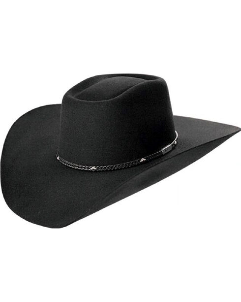 Master Hatters Men's Black Mabank 3X Wool Felt Cowboy Hat, Black, hi-res