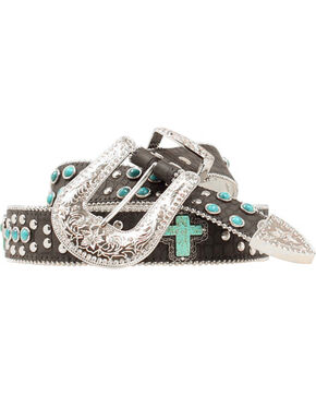 Blazin Roxx Women's Cross Studded Gator Print Belt, Black, hi-res