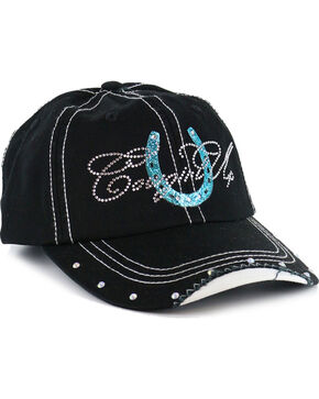 Cowgirl Up Women's Rhinestone Horeshoe Ball Cap, Black/blue, hi-res