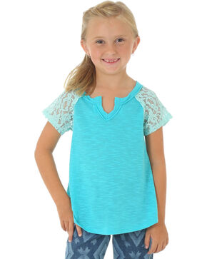 Wrangler Girls' Short Sleeve Crochet Sleeve Knit Top, Turquoise, hi-res