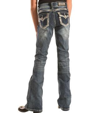 Grace in LA Girls' Heavy Stitch Flap Pocket Bootcut Jeans , Denim, hi-res